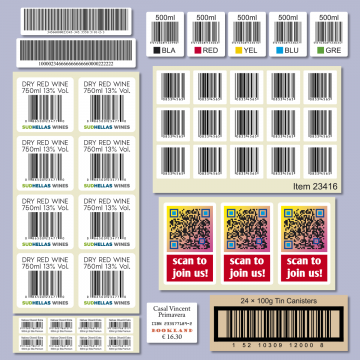 Barcode and QR code label production